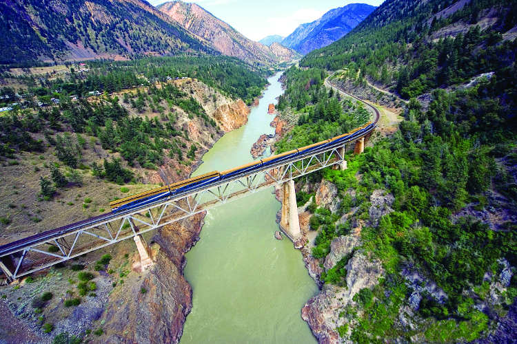 Rocky Mountaineer - Canyon Bridge over the Fraser River near Lillooet, BC