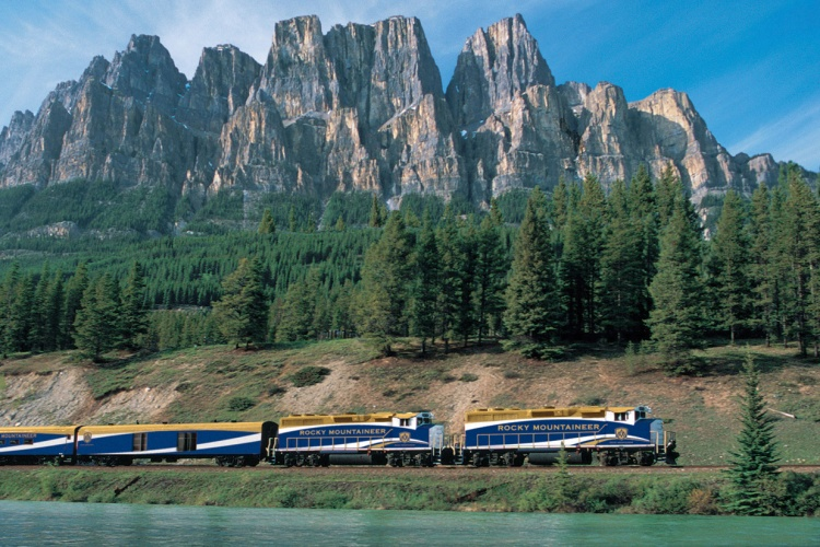 Rocky Mountaineer - Passing Castle Mountain outside of Banff, Alberta