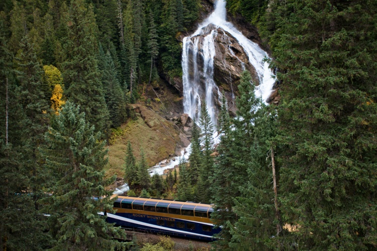 Rocky Mountaineer - Pyramid Falls, Journey through the Clouds & Rainforest to Gold Rush route